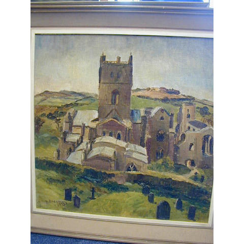 Denise Broadley (b.1913) St. David's Cathedral, Wales 60 x 60.5cm (23 1/2 x 23 3/4in).