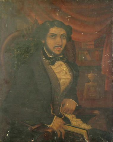 19th Century School, Portrait, half length, of a gentleman seated in an interior, believed to be His Highness Ali Bahadur, the Nawab of Banda State, 70 x 55cm