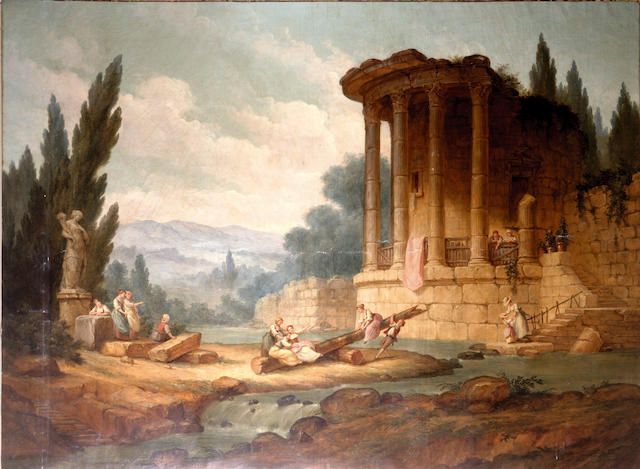 Studio of Hubert Robert (Paris, 1733-1808) An extensive landscape with children playing on a see-saw before a ruined temple, 228 x 315cm