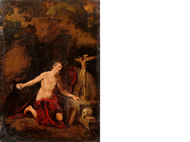 School of Prague, circa 1580 Saint Jerome in the desert 35.2 x 25.1 cm. (13 5/8 x 9 5/8 in.)<BR>unframed