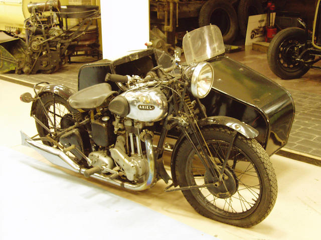 1937 Ariel 350cc NG De Luxe Motorcycle Combination  Chassis no. 10178 Engine no. 1572
