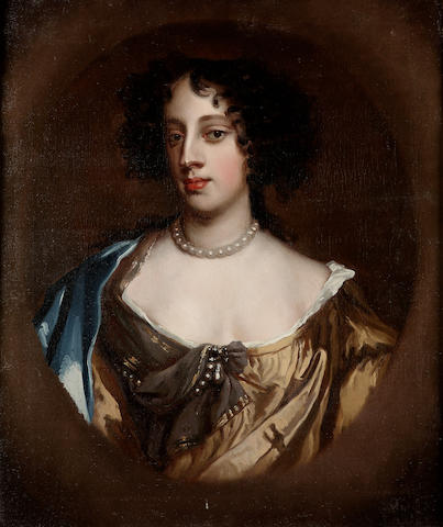 Circle of Sir Peter Lely (Soest 1618-1680 London) Portrait of Barbara Villiers, Lady Castlemaine and Duchess of Cleveland, bust-length, in a brown silk dress with a blue silk shawl, in a painted oval 76 x 63 cm. (30 x 24¾ in.)