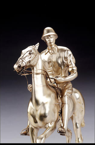 Polo interest:- A set of nine Edwardian equestrian statuettes forming a polo game, by Mappin & Webb, 1903/04,