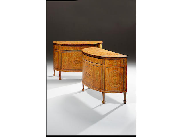 A pair of Georgian style satinwood, rosewood and marquetry Commodes,  132cm. wide x 36cm. deep x 91cm. high