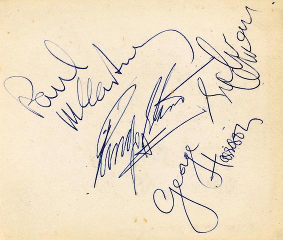 Autographs of The Beatles Twickenham Film Studio's, 1960's album 10.5 x 12 cm. the vendor's father w