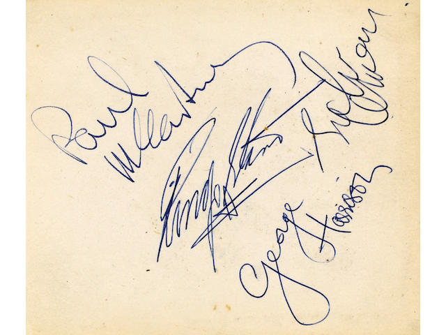 Autographs of The Beatles Twickenham Film Studio's, 1960's album 10.5 x 12 cm. the vendor's father worked at Twickenham Film Studio's as a transport manager during the 1960's where he obtained The Beatles autographs,