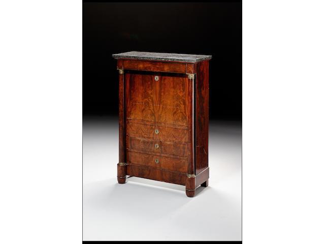 An Empire revival mahogany secretaire abattant 95cm. wide, 43cm. deep, 137cm. high.