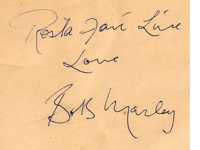 Bob Marley's autograph album pape 12 x 15 cm., slightly creased,