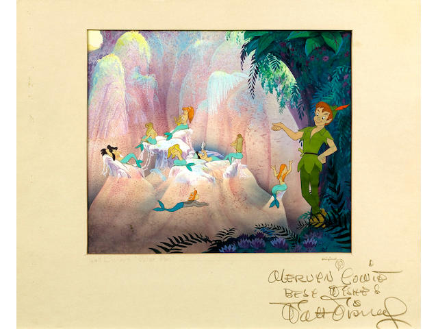 An original cell & watercolour background of Peter Pan autographed by Walt Disney  1953 Peter Pan ap