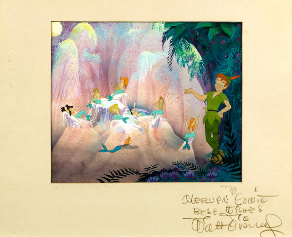 An original cell & watercolour background of Peter Pan autographed by Walt Disney  1953 Peter Pan apprx. 14 x 7 cm. Slight cracking on Peter Pan's ankle,