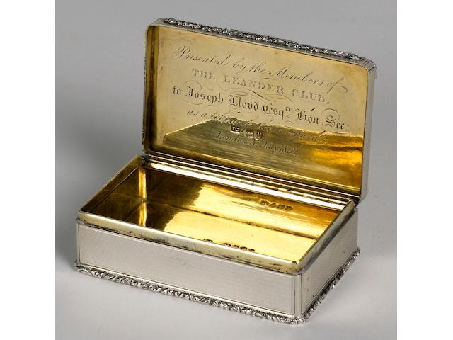 A Solid Silver Presentation Snuffbox, Leander Club maker I.J. hallmarked London 1832 8 x 5 x 3cm (3