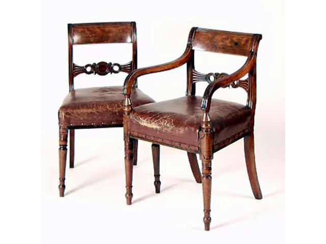 A set of seven Regency mahogany dining chairs,