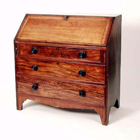 A George III mahogany bureau, 100cm wide.