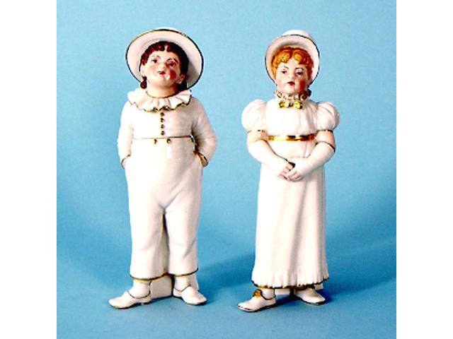 A pair of Royal Worcester figures after Hadley, dated 1881, he 18cm high, foot repaired, she 17.5cm high (2). See Illustration.