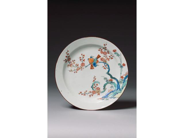 A fine plate in Kakiemon style circa 1720-25