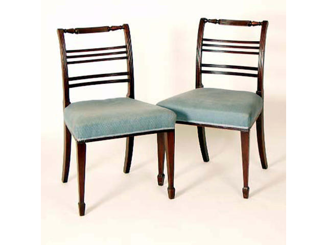 A set of six Sheraton style mahogany dining chairs, 50cm wide (6).