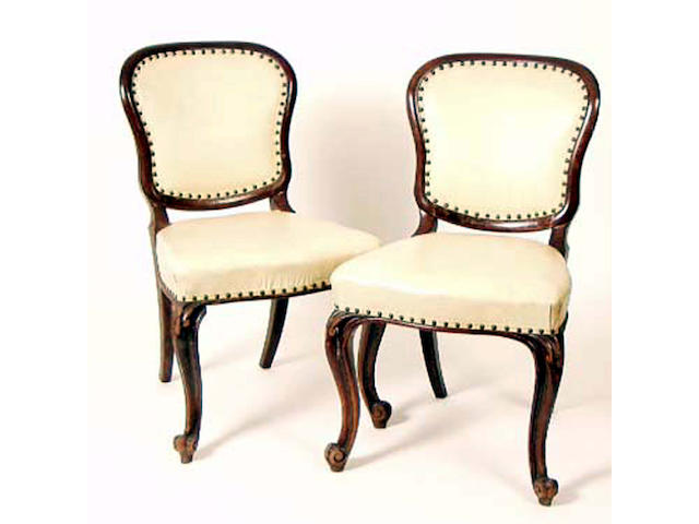 A set of six mid Victorian mahogany framed dining chairs, Gillows, 53cm wide,(6).