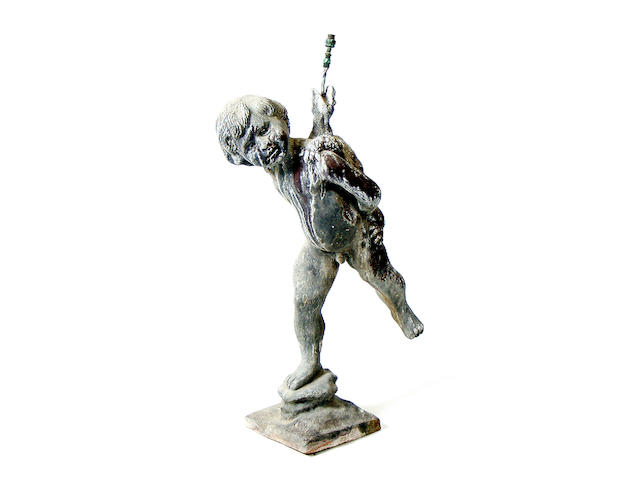 A 19th Century lead fountain figure, 76cm high.