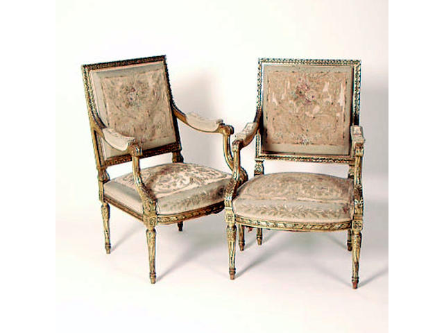 A pair of Louis XVI style giltwood Fauteuils a la Reine,  64cm wide (2). See Illsutration.