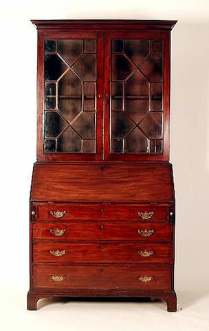 A George III mahogany bureau bookcase, 112cm wide.