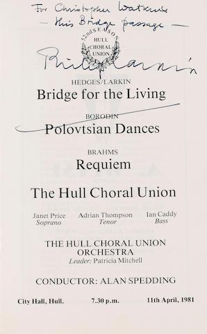 A souvenir programme & letter autographed by Philip Larkin 1981 Souvenir programme 25 x 15 cm. Very good,