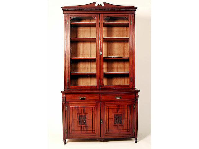 A late Victorian mahogany bookcase, 125cm wide.