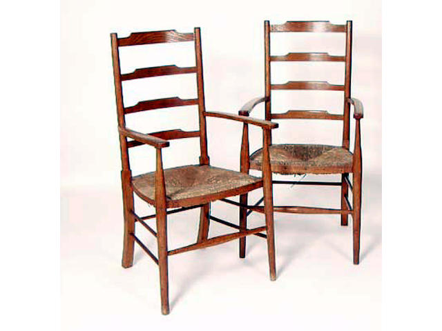 A set of six Arts and Crafts style elbow chairs,  55cm wide, (6).