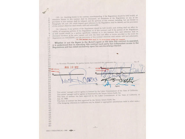 An early David Bowie contract signed by David Bowie & The Spiders From Mars dated August 30th 1972