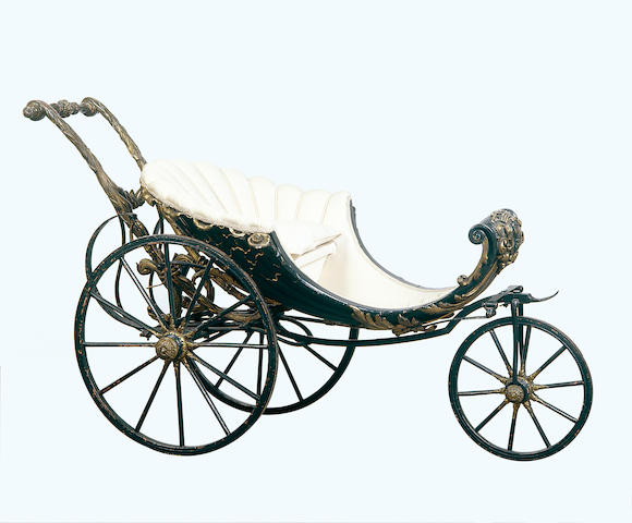 A rare 18th century Roman blue and parcel gilt Baby Carriage 150 cm. wide, 90 cm. deep, 58 cm. high.
