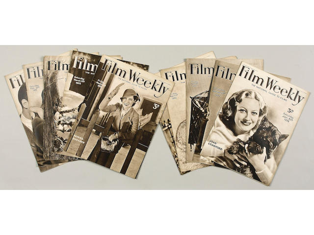 A very large collection of 'Film Weekly' magazines 1931-1939 Near mint/Mint,