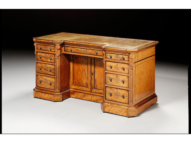 A Victorian walnut and marquetry kneehole desk by Gillow & Co. 156 cm wide.