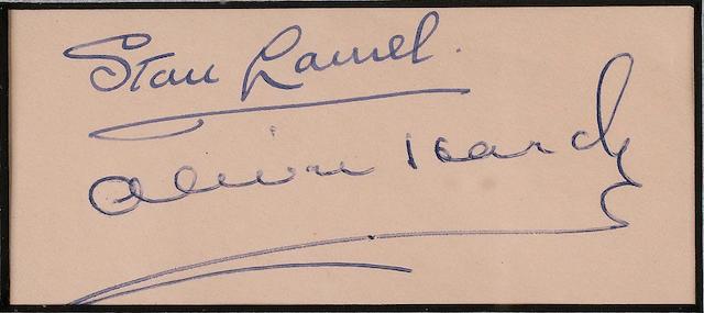 Autographs of Laurel & Hardy frame 54 x 65 cm.
