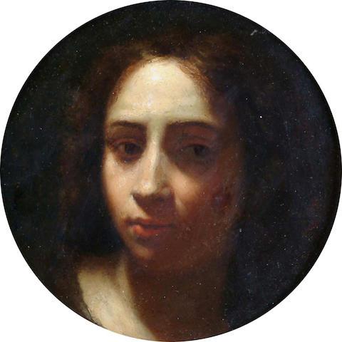 Neopolitan School, 17th Century Portrait of young man 17cm diameter