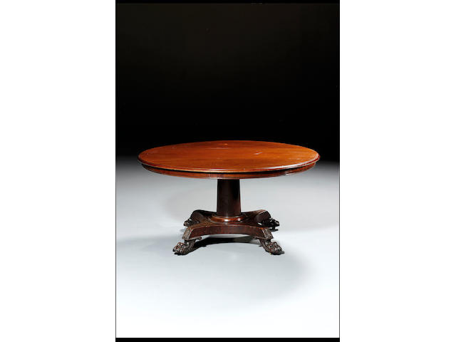 A late George IV mahogany breakfast table 151cm wide x 74cm high