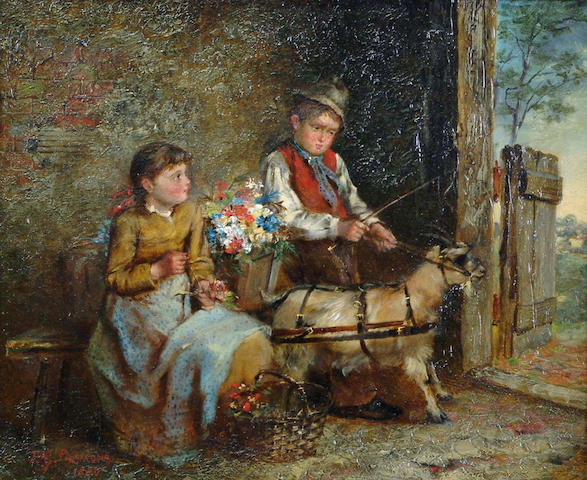 Frederick G Passmore  A young boy and girl with baskets of flowers and a goat 26 x 31cm