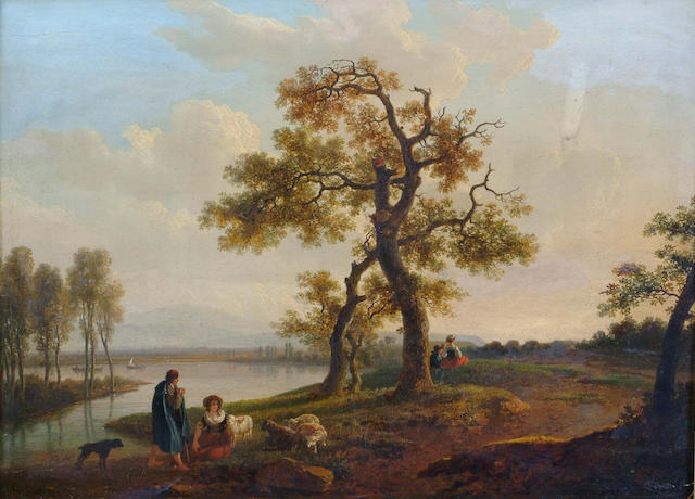 Jean-Baptiste Bocquet A river landscape with a shepherd and shepherdess resting on a bank28 x 37.5 c