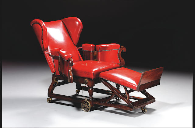 A Victorian patent reclining Wing Armchair