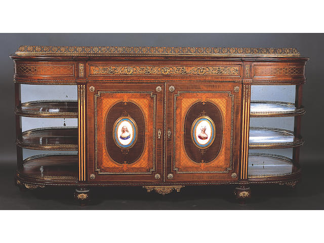 A good large mid-19th Century French style burr walnut, crossbanded and inlaid bow end credenza,