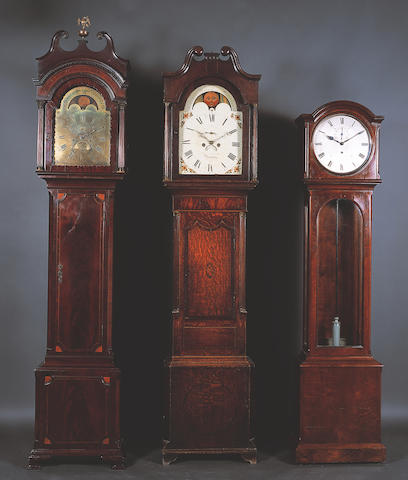 A late 18th Century Bristol figured mahogany, kingwood crossbanded, fan spandrel and line inlaid longcase clock,