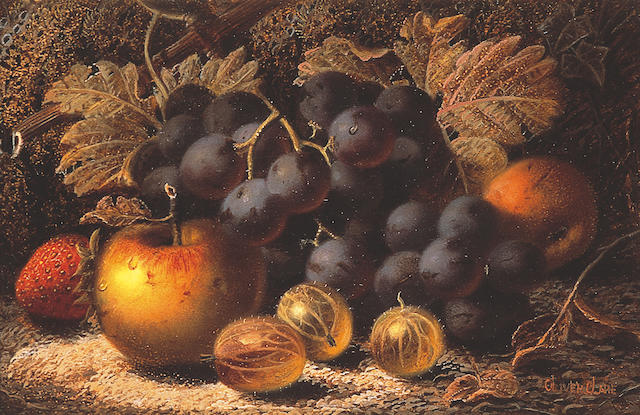 Oliver Clare (1853-1927) British Black grapes, gooseberries, apples and a strawberry against a mossy bank,