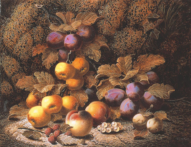 Oliver Clare (1853-1927) British Plums, apples, peaches, raspberries white currants and greengages
