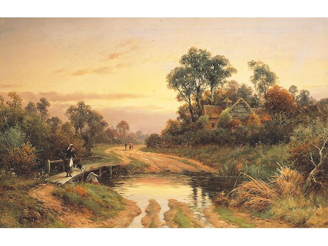 William Henry Mander (fl. 1880-1922) British 'Evening nr. Upton On Severn';