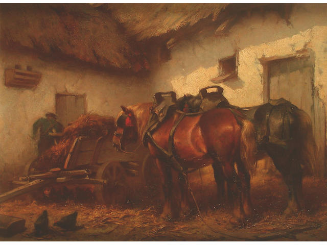 Wouterus Verschuur Junior (Dutch, 1841-1936) Carthorses in a stable; a companion 24.5 x 33cm (2)
