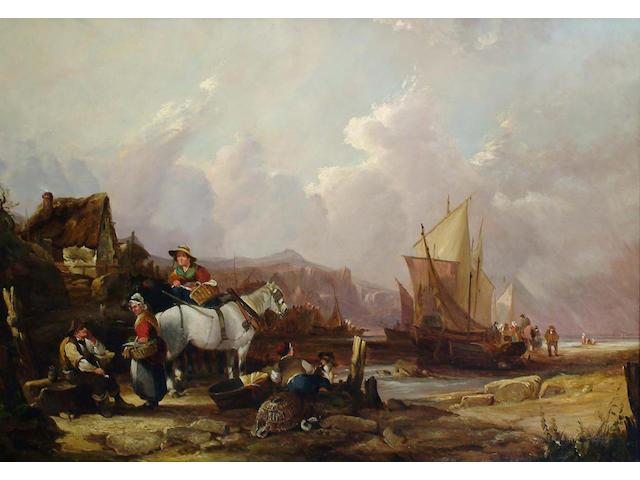Studio of William Shayer Junior, Coastal Scene with Fisherfolk, 70 x 100cm