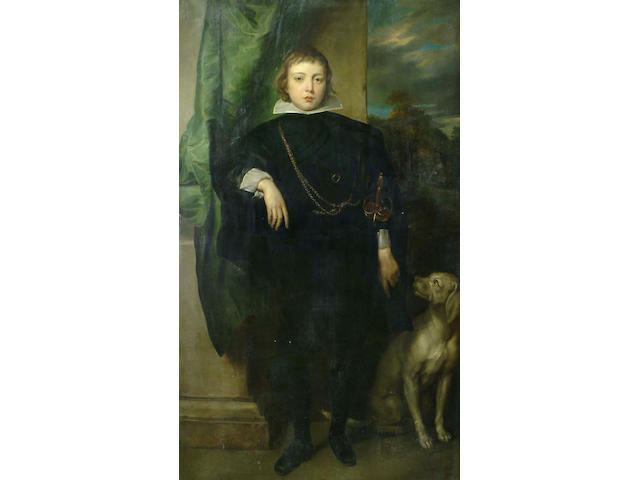 Continental School, 19th Century, After Sir Anthony Van Dyck, Portrait of Prince Rupert of Palatine, full-length, in  black costume with a white collar and cuffs, a dog at his side and a view to a park landscape beyond175 x 96.5cm