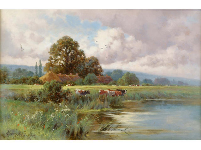 Henry H Parker (British, 1858-1930) Extensive landscape with cattle by river in the foreground; `A Sussex Cornfield, Godalming`both signed, both signed verso, one inscribed verso, a pair of oils on canvas,