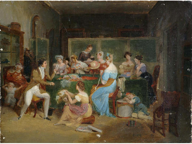 Jean Augustin Franquelin (French, 1798-1839) At the Milliners, signed and dated 1829, oil on canvas, unframed, 18.5 x 24.3cm