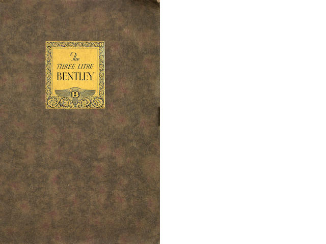 A Three Litre Bentley sales catalogue, No. 15 October 1926,