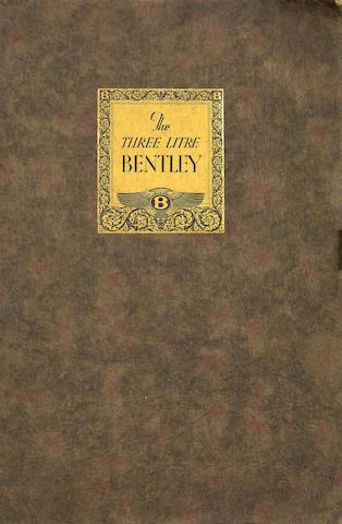 A Three Litre Bentley sales catalogue, No. 15 October 1926,