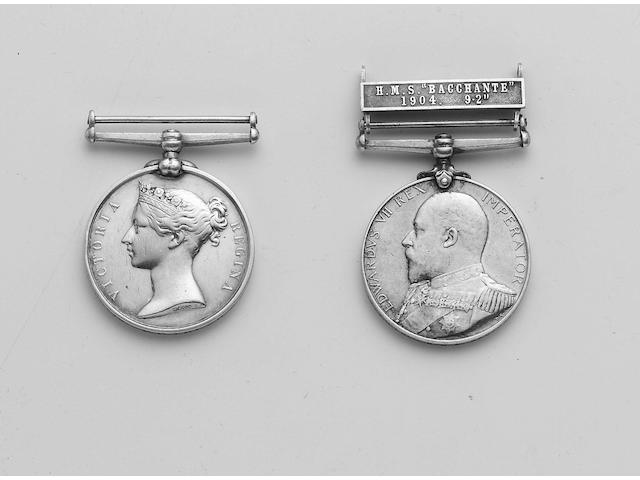 "Campaign Groups, Pair to Petty Officer J.Ellis, Royal Navy, Royal Navy Long Service and Good Conduct, V.R. (John Ellis, P.O.1CL., H.M.S.Excellent.); Navy Good Shooting Medal, E.VII.R. with bar H.M.S.""Bacchante"" 1904. 9.2"" (129967 J.Ellis P.O.1.CL., H.M.S. Bacchante 1903. 9.2 IN B.L.)."